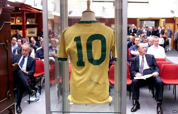 A jersey worn by Pele was sold for £158,000 at Christies in 2002