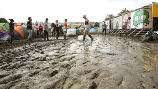 Weather conditions at Glastonbury have turned the site into a mud bath