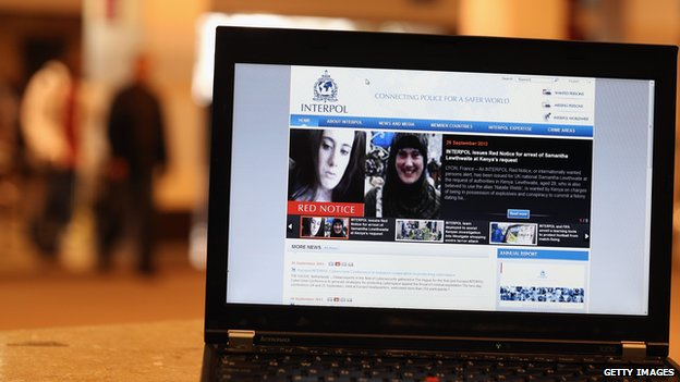 Laptop computer showing Interpol notice against Samantha Lewthwaite