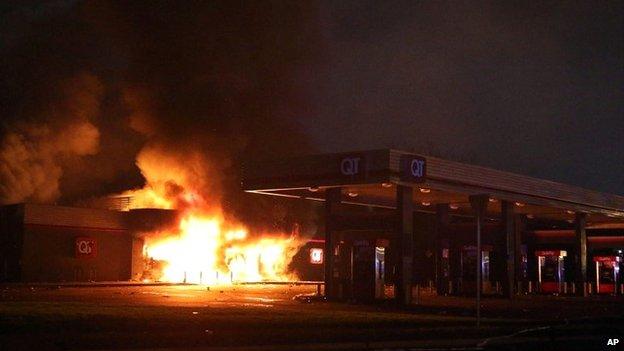 A fire in Ferguson, Missouri, on Sunday 10 August 2014