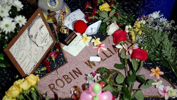 Floral tributes on Robin Williams' star on the Hollywood Walk of Fame
