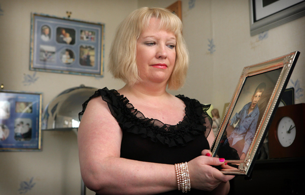 Sharon Bernardi with picture of son