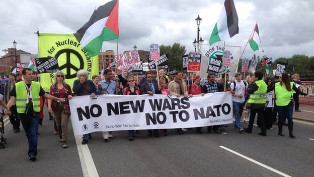 Anti-Nato protestors in Newport