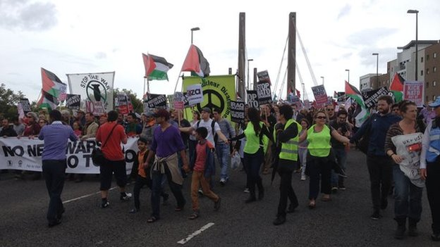 protestors march on Celtic manor  NATO venue