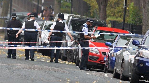 Police at the scene in Shepperton Road