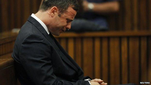 Oscar Pistorius crying in court - 11 September