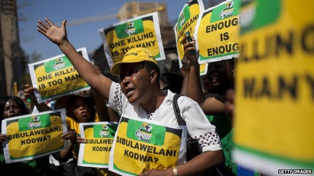 Members of the ANC Women's League outside the court in Pretoria, South Africa - 11 September 2014