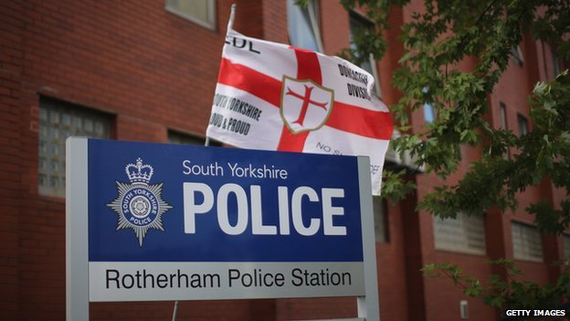 English Defence League flag at Rotherham Police Station