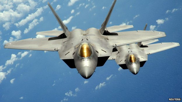 Two US Air Force F-22 Raptor stealth jet fighters
