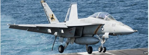 F/A-18F Super Hornet landing on USS George Bush