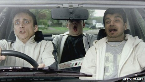 Three friends in a car - part of a 2003 campaign by Department for Transport