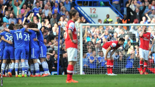 Chelsea players celebrate their final goal in last season's 6-0 win against Arsenal