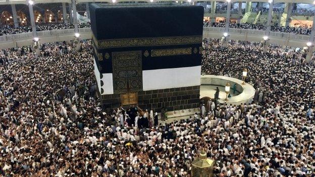 Pilgrims walk around the Kaaba in Mecca, Saudi Arabia, archive