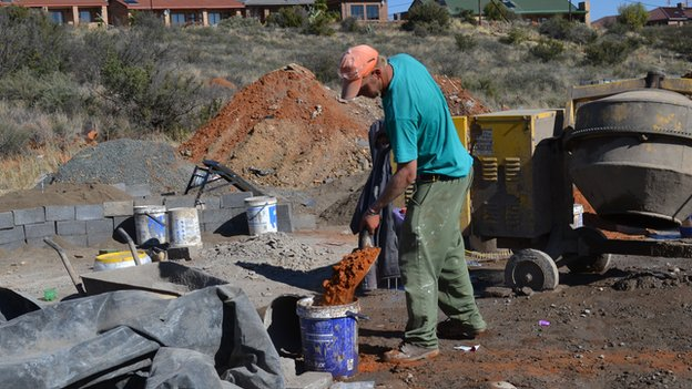 A white man labouring in Orania, South Africa