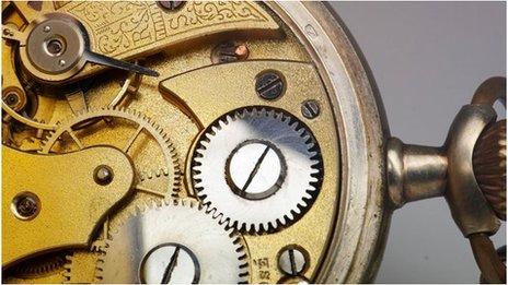 Inner workings of a pocket watch