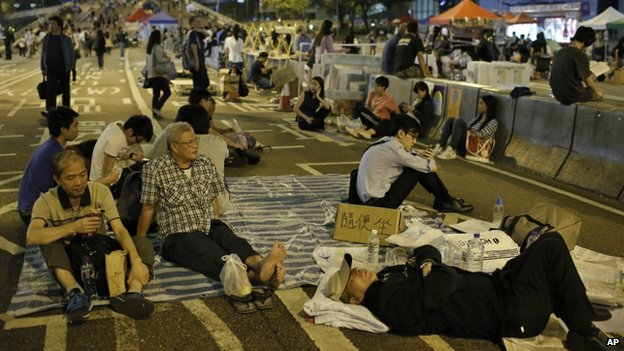 Protesters in Hong Kong. Photo: 9 October 2014