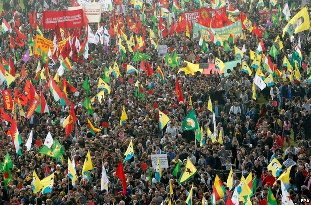 Kurds demonstrate in Duesseldorf, Germany, 11 October