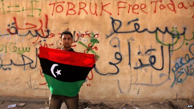 Anti-government protester in Tobruk, February 2011