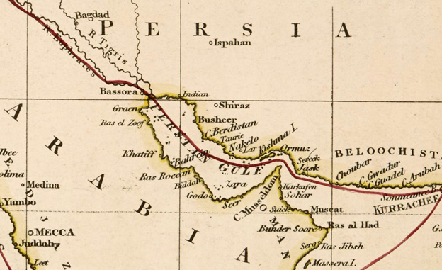 Persia and Arabia (map of 1850)