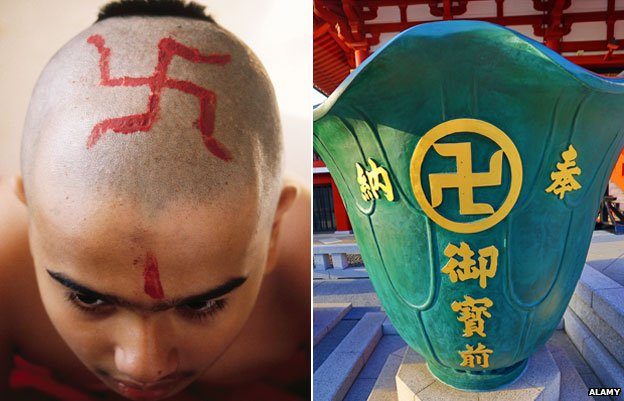 Indian boy with swastika on head, and vase at Sensoji Asakusa Kannon Temple, Tokyo, Japan