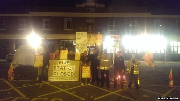 Picket line at Leicester Central