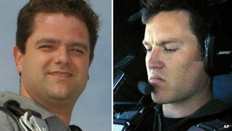 Peter Siebold, left, was piloting SpaceShipTwo alongside co-pilot Michael Alsbury, right