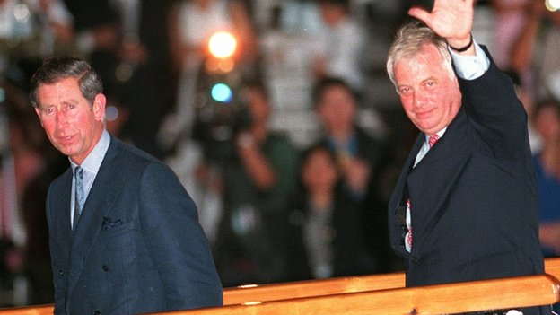 Chris Patten with the Prince of Wales during the 1997 handover ceremony in Hong Kong