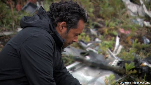 Robby Oehlers at the crash site