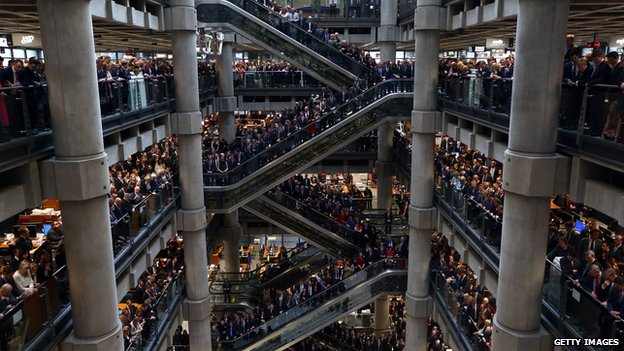 Lloyd's of London holds two-minute silence on 11 November 2014