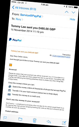 "Fake eBay email sent to Rory by the scammer - headline reads ""Tommy sent you £485.00 GBP"