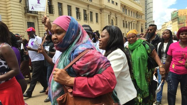 Protest in Nairobi, Kenya, over a woman being stripped for wearing a miniskirt (17 November 2014)