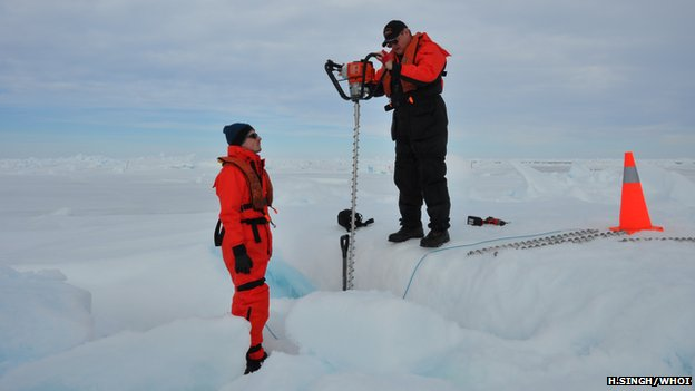 Drilling the sea ice in the Bellingshausen sea to deploy  a navigational transceiver