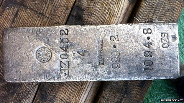 A silver bar recovered from the wreck of the SS Gairsoppa