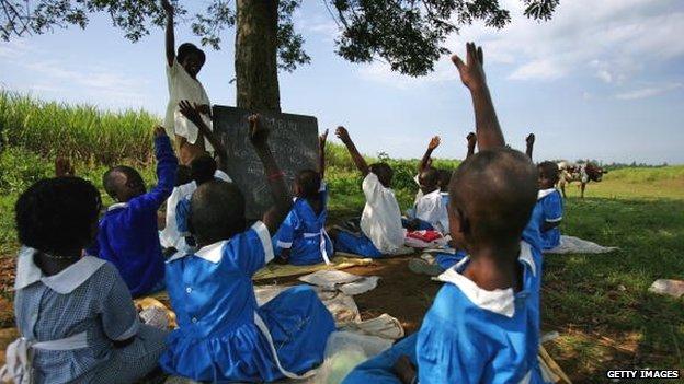 An outdoor school in Bungoma, Kenya - archive shot 2007