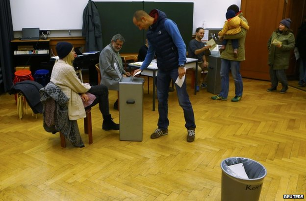 People vote in Bern, 29 November