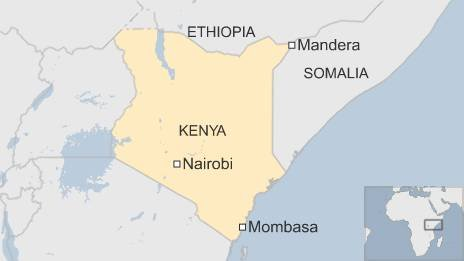 Kenya map showing Mandera