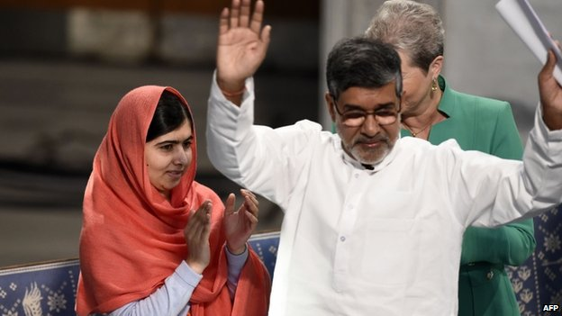 Nobel Peace Prize laureates Kailash Satyarthi (right) and Malala Yousafzai  at the the Nobel Peace Prize award ceremony at the City Hall in Oslo, 10 December 2014