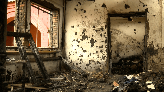 The inside of a Chechen house, attacked by unknown assailants
