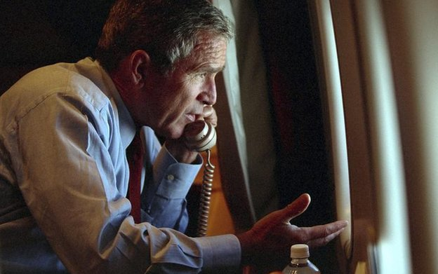 US President George W Bush speaks to Vice President Dick Cheney by phone aboard Air Force One in 2001