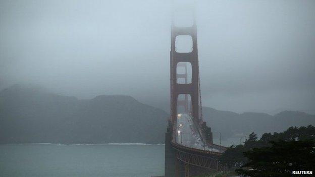 Light vehicle traffic is seen on the Golden Gate Bridge in San Francisco, California 11 December 2014