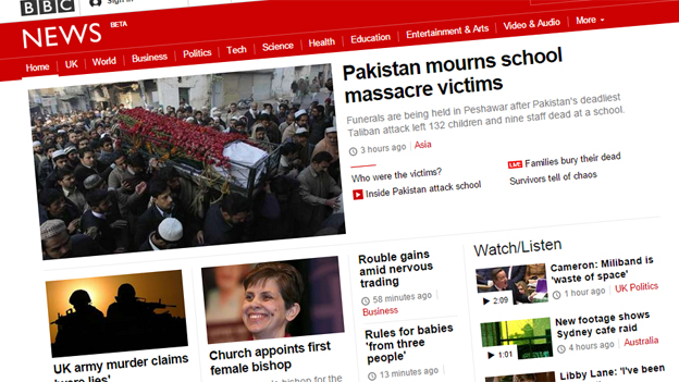 Desktop responsive version of news front page, 17 December