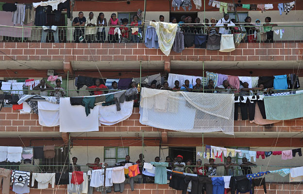 Residents of Eastleigh on their balconies