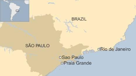 BBC map of Praia Grande in Brazil's Sao Paulo state