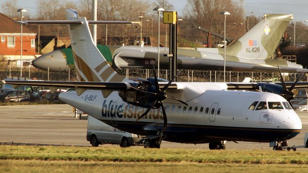 The Blue Islands plane involved in a fire