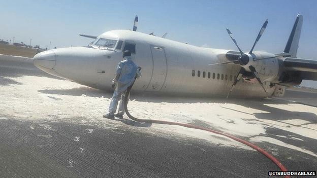 Passenger plane on the runway in Nairobi