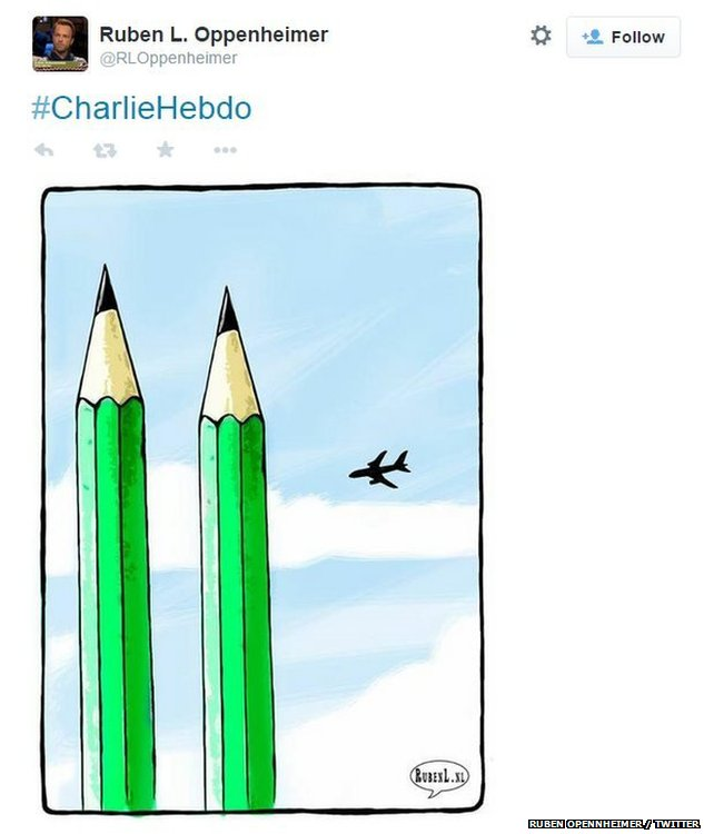 Two pencils represent the Twin Towers attack