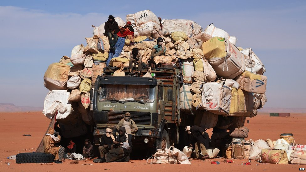 An overloaded truck in Madama, Niger - Thursday 1 January 2015
