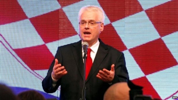 Ivo Josipovic speaks to supporters in Zagreb after conceding defeat in the presidential runoff - 11 January 2015