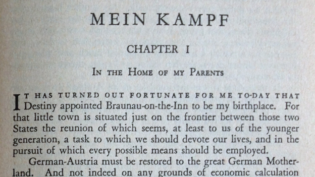 Opening lines from Mein Kampf