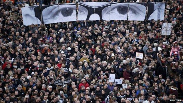 A solidarity march following the Charlie Hebdo attacks